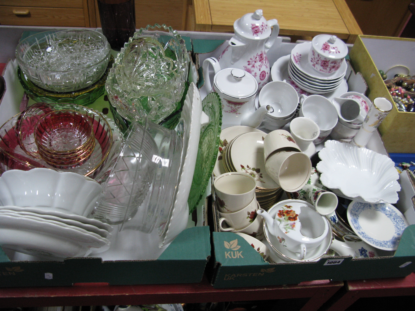 Lot 1064 - Tulowics Tea Ware, German coffee service, glassware etc:- One Tray