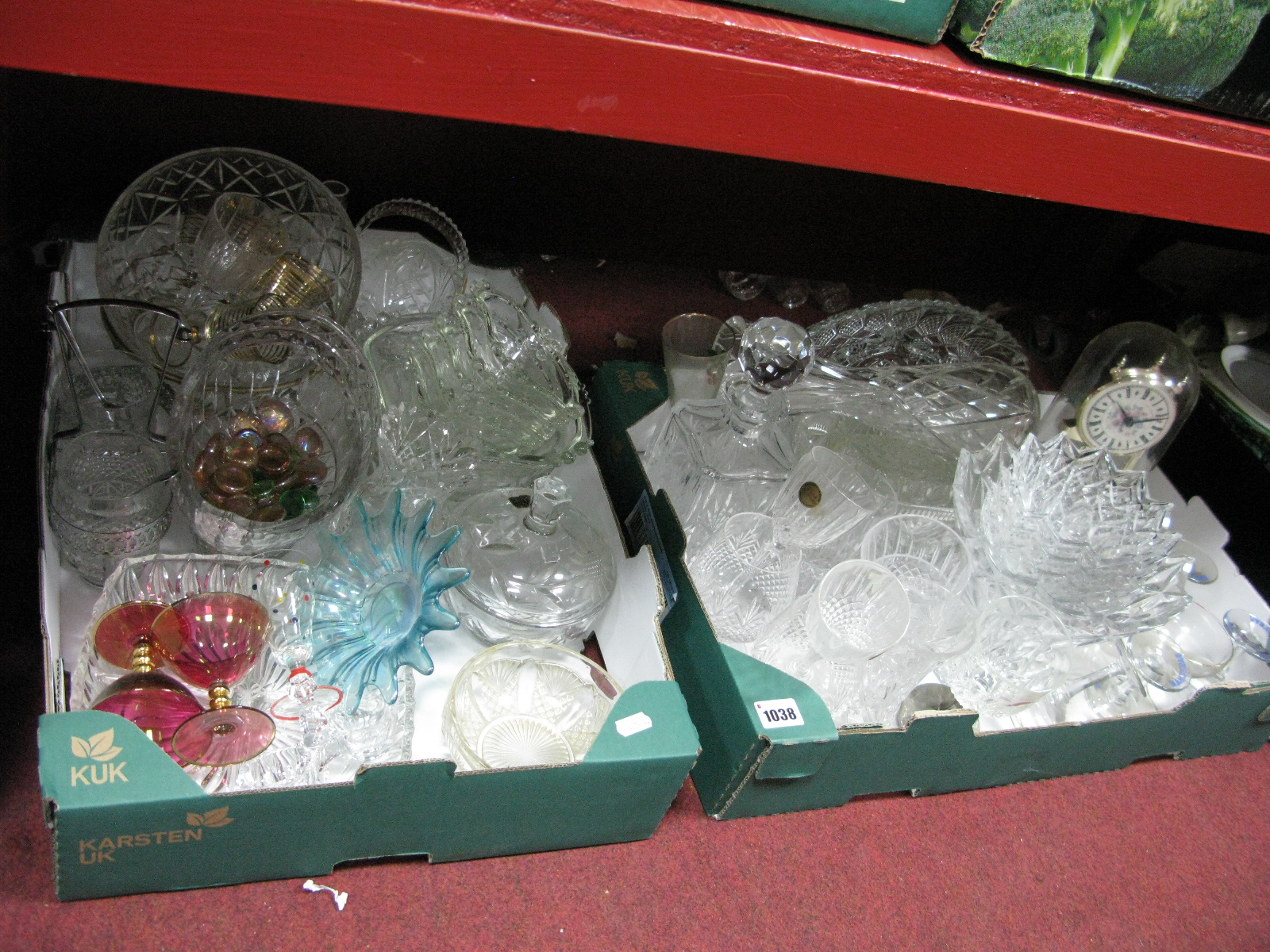 Lot 1038 - Quantity of Glassware, to include Babycham's, decanter:- Two boxes