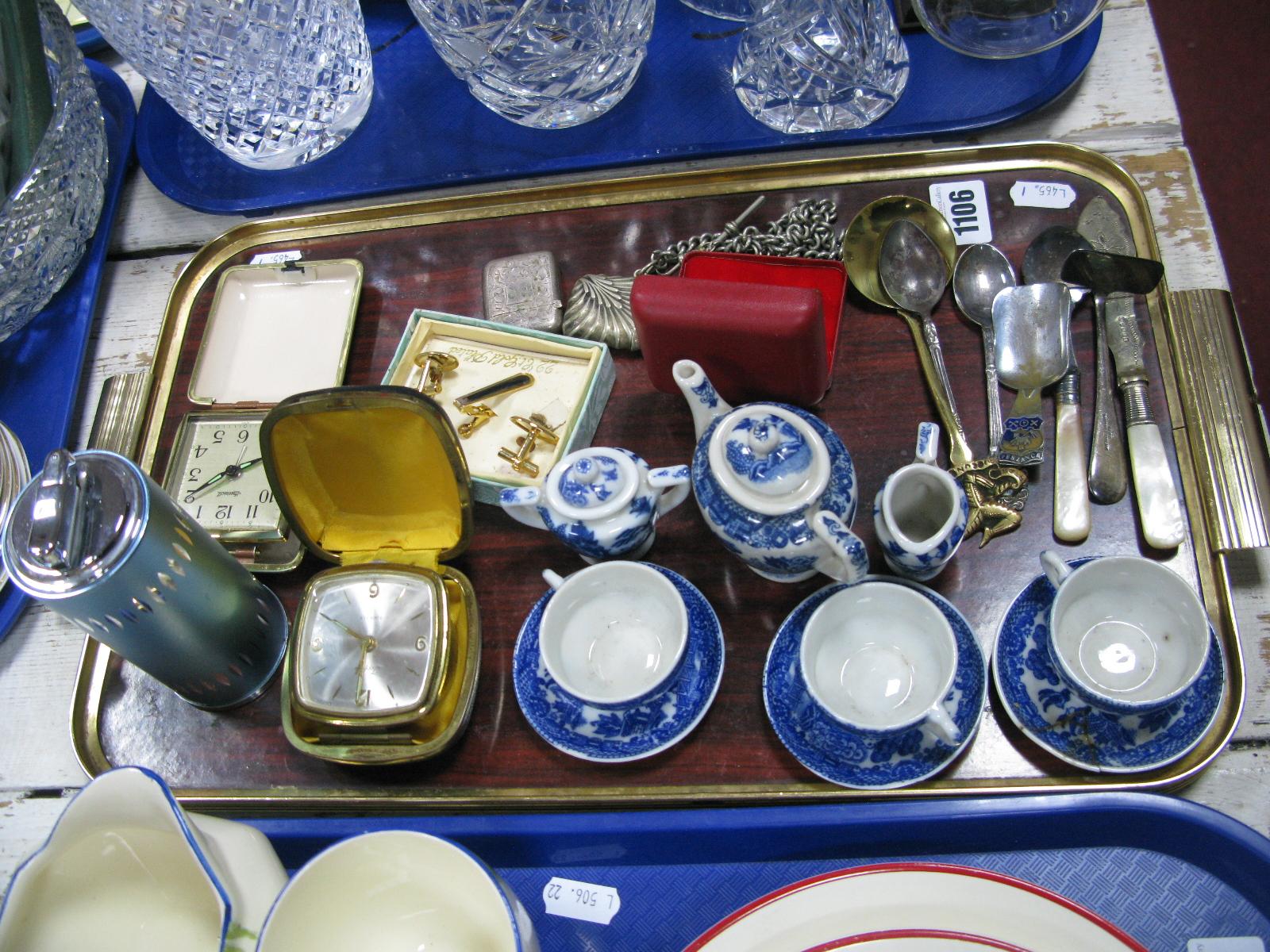Lot 1106 - Dolls Willow Pattern Tea Set, vesta cases, table top lighter, cufflinks etc:- One Tray
