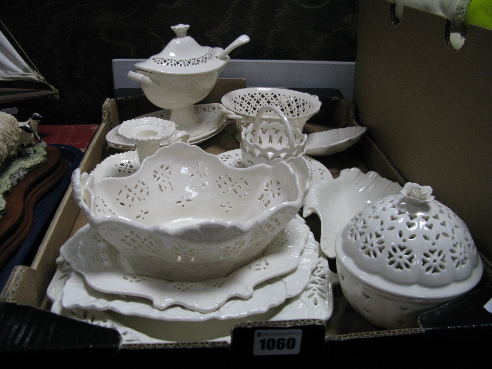 Lot 1060 - Leeds Creamware Pottery of Thirteen Pieces, including oval tureen, chamberstick, pot pourri.