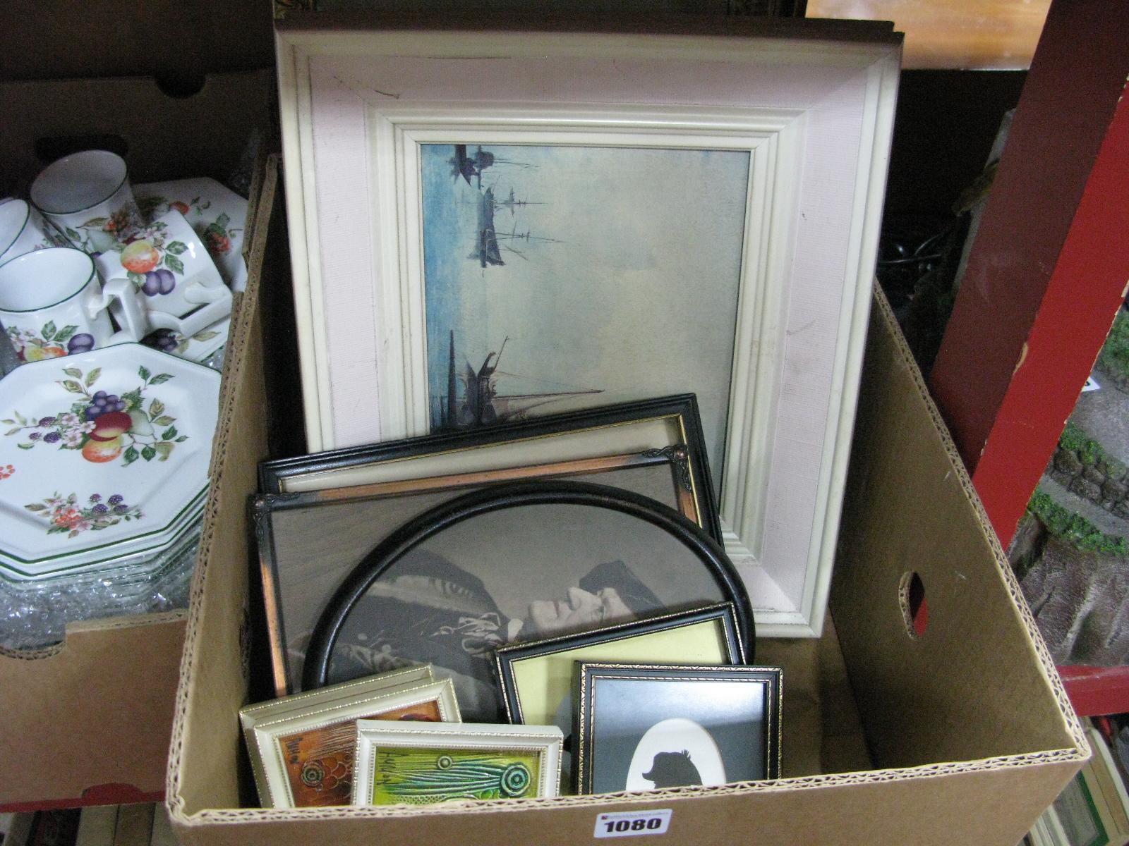 Lot 1080 - Silhouettes, Coach Inn tapestry, prints, mirror, etc:- One Box