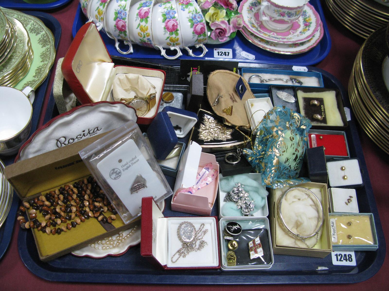 Lot 1248 - Assorted Costume Jewellery, including earrings, beads, ladies fan, gent's wristwatch, etc:- One