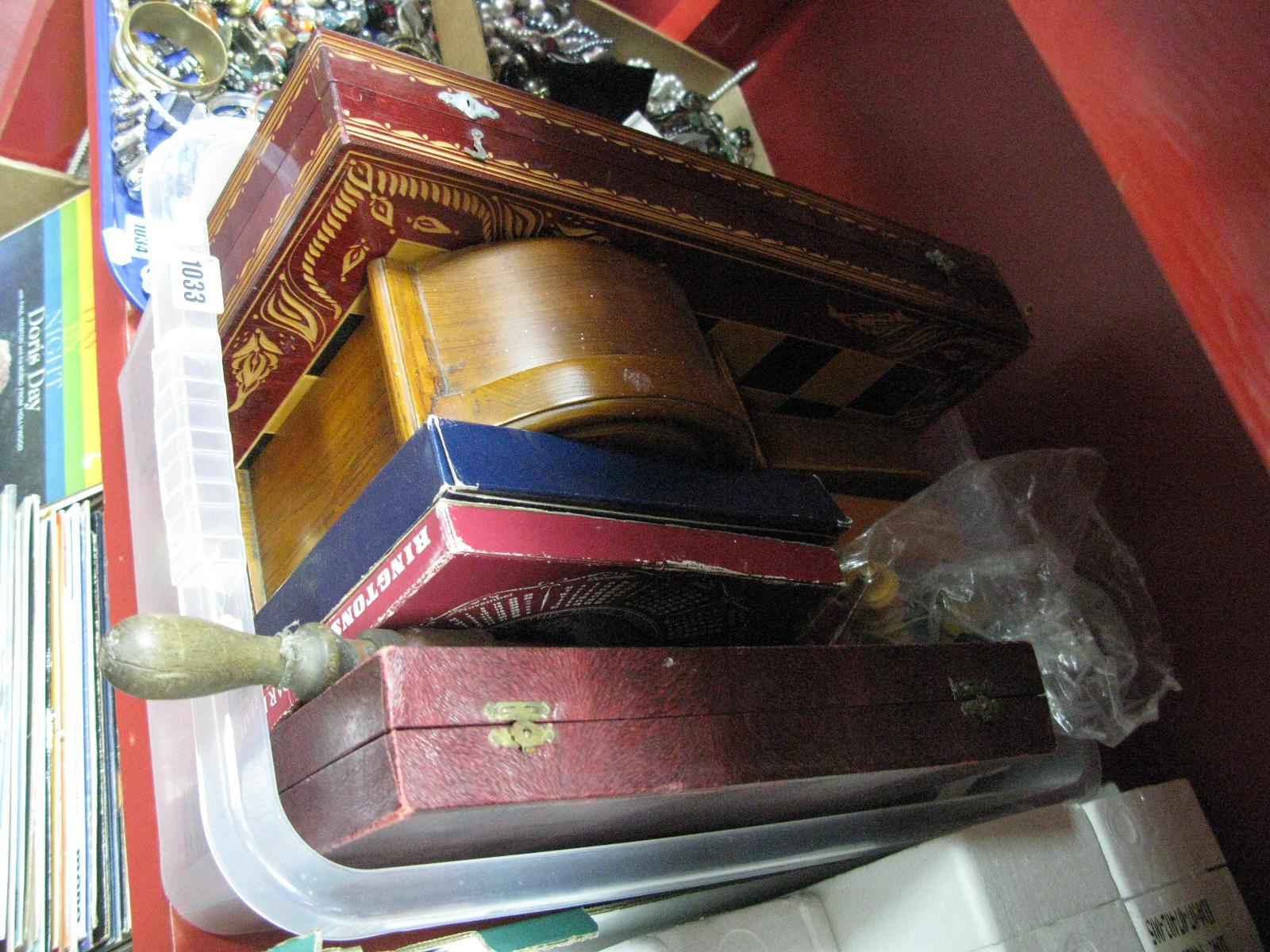 Lot 1033 - A Quartz Mantel Clock, chessboard, chess set, gent's travelling grooming cases, etc.
