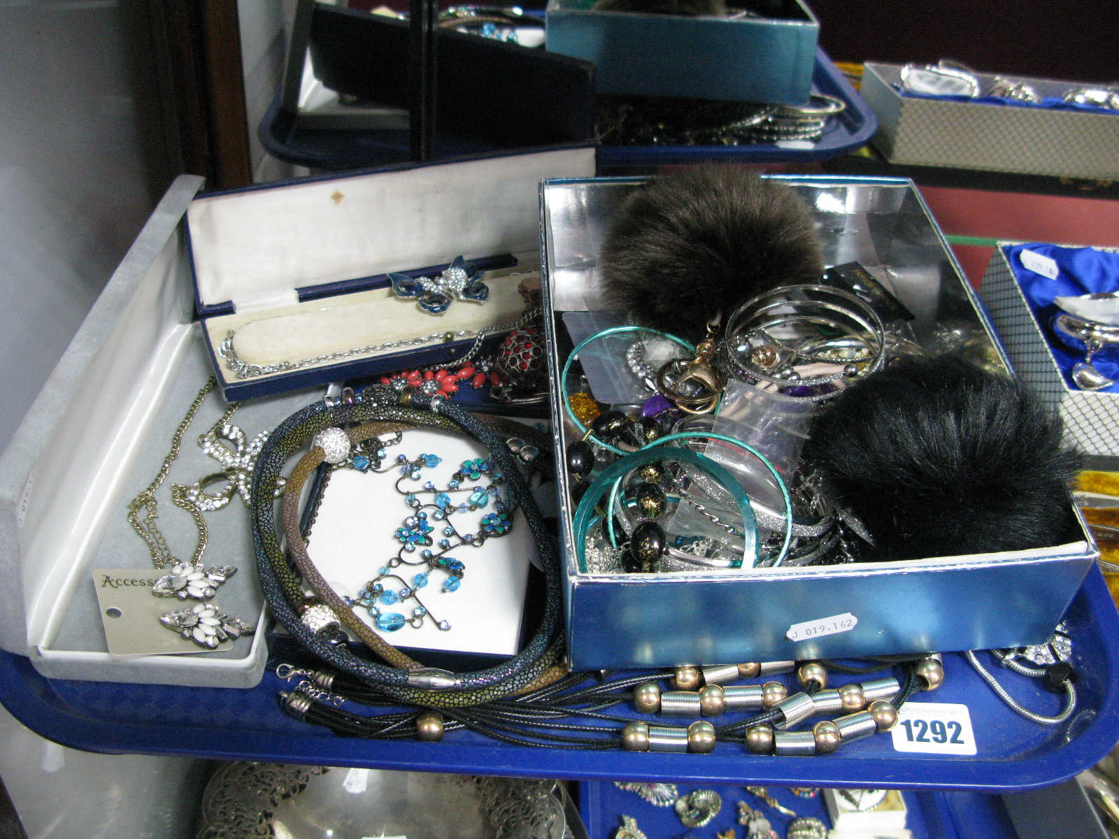 Lot 1292 - A Mixed Lot of Assorted Costume Jewellery, including bangles, necklaces, clip and other earrings,