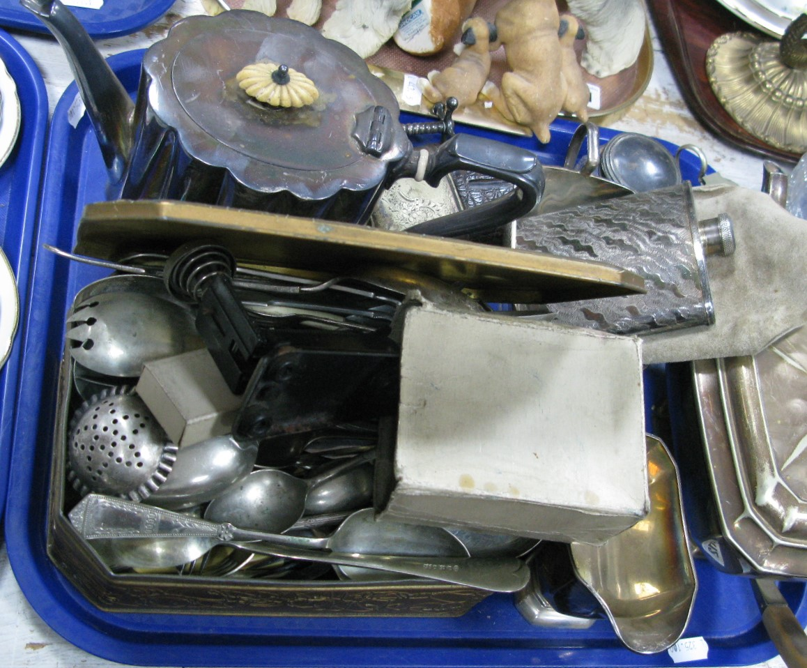 Lot 1112 - Plated Three Piece Tea Set, assorted loose plated cutlery, teapot, hip flasks, knife rests, etc:-