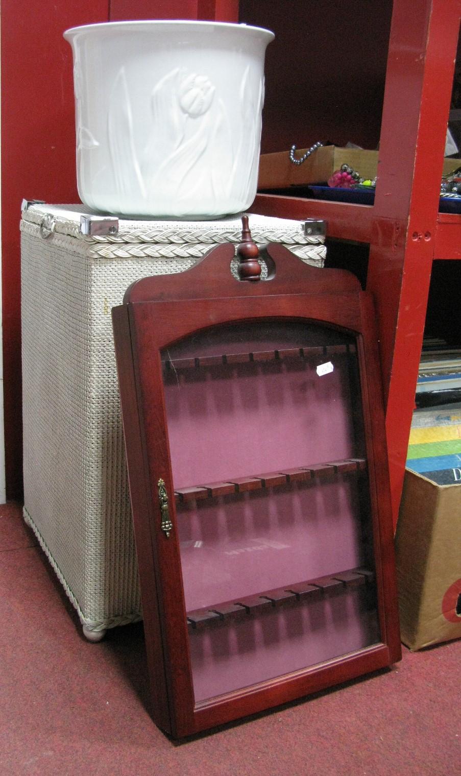 Lot 1036 - Lloyd Loom Style Linen Basket, display cabinet, jardiniere.