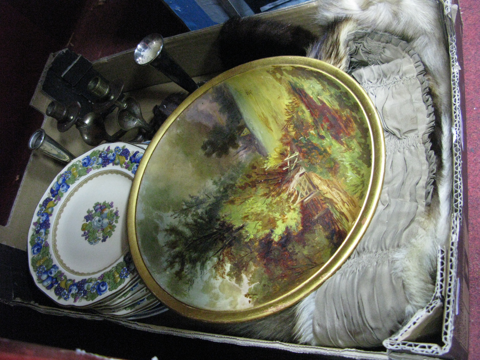 Lot 1040 - Crown Ducal Plates, with raised floral decoration, fur stoles, painted cabinet plate with country