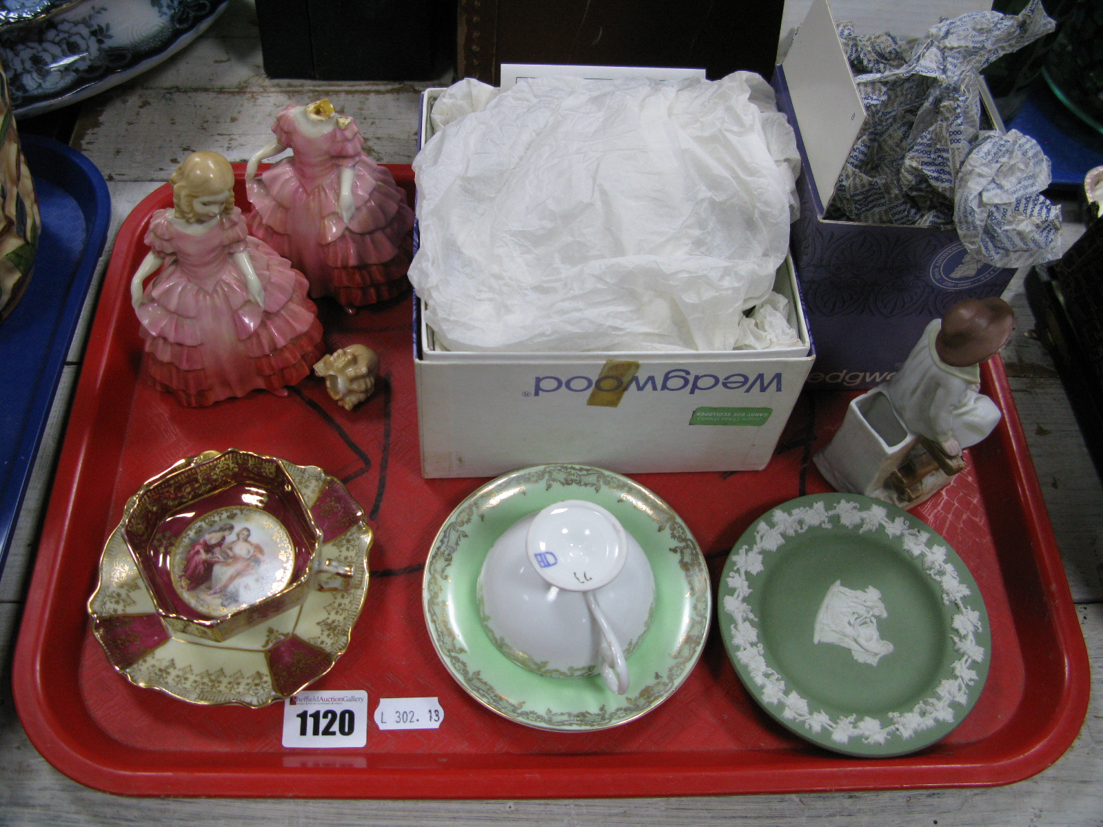 Lot 1120 - Two Doulton 'Rose' HN1368 (damages), Wedgwood Jasper ware, etc:- One Tray