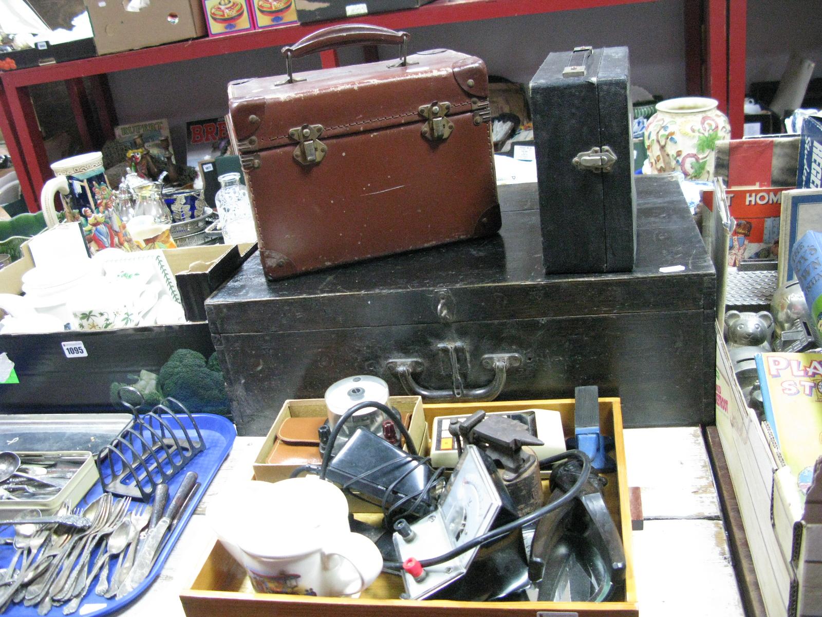 Lot 1094 - A Child's Cased Sewing Machine, tool box, cutthroat razor, novelty nutcrackers, Datamatch