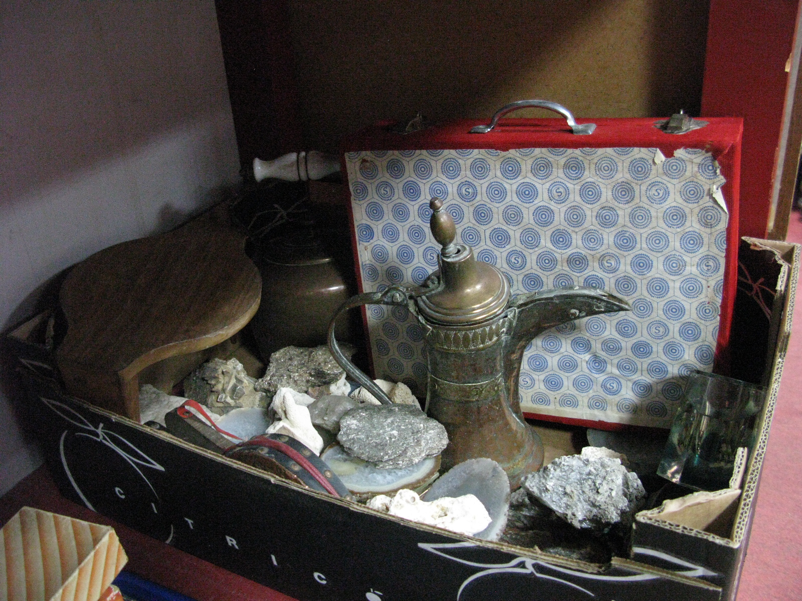 Lot 1070 - XIX Century Copper Kettle, minerals, cased goblets, etc:- One Tray