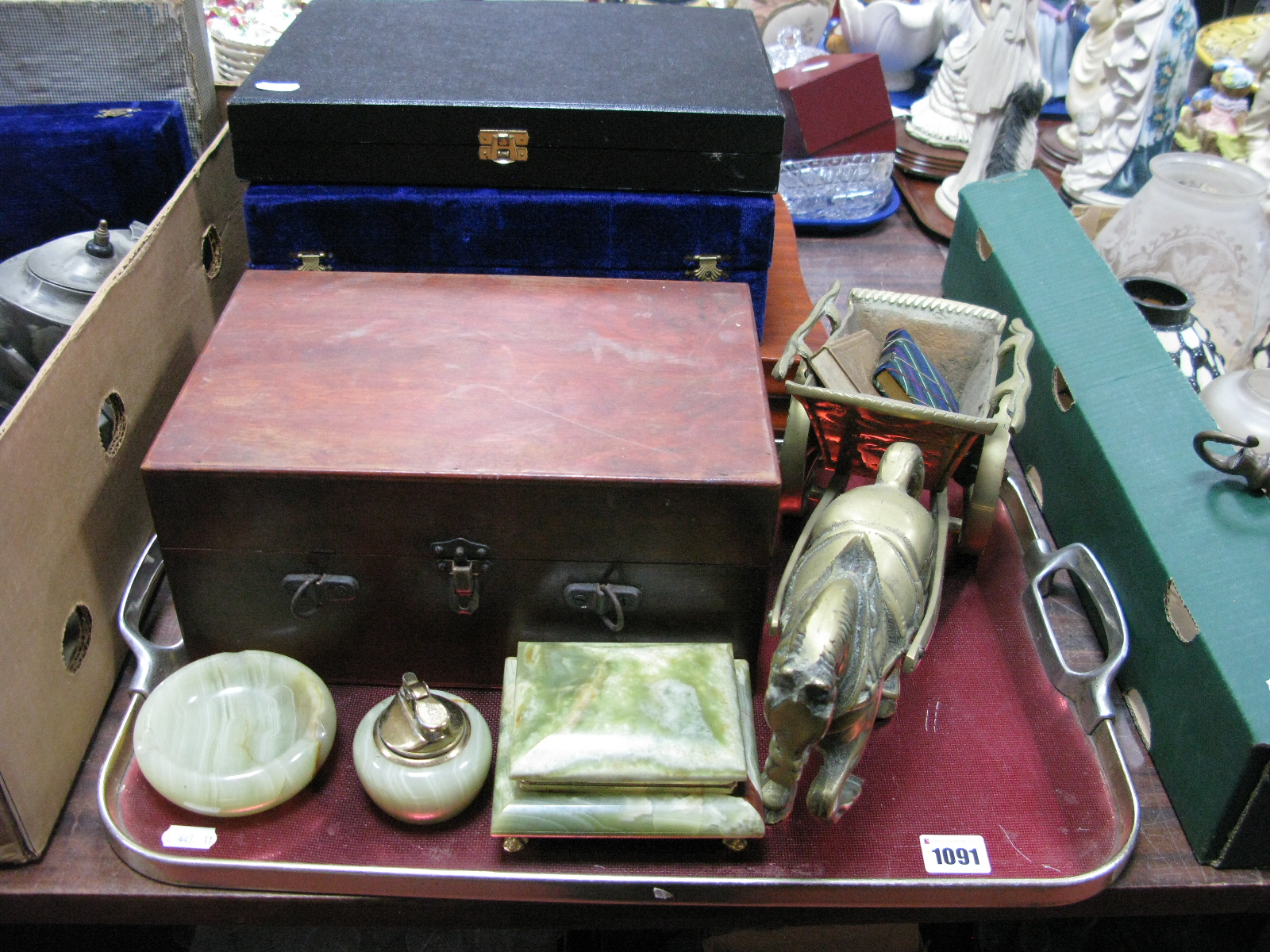Lot 1091 - Thimbles, cottons, etc. in box, onyx smokers items, brass horse and cart, books:- One Tray