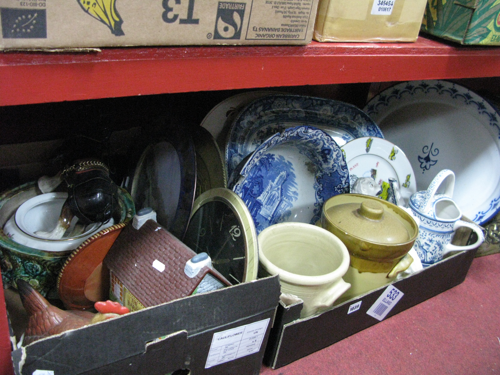 Lot 1039 - Majolica Style Planter, XX Century meat plate, storage jars, etc:- Two Boxes