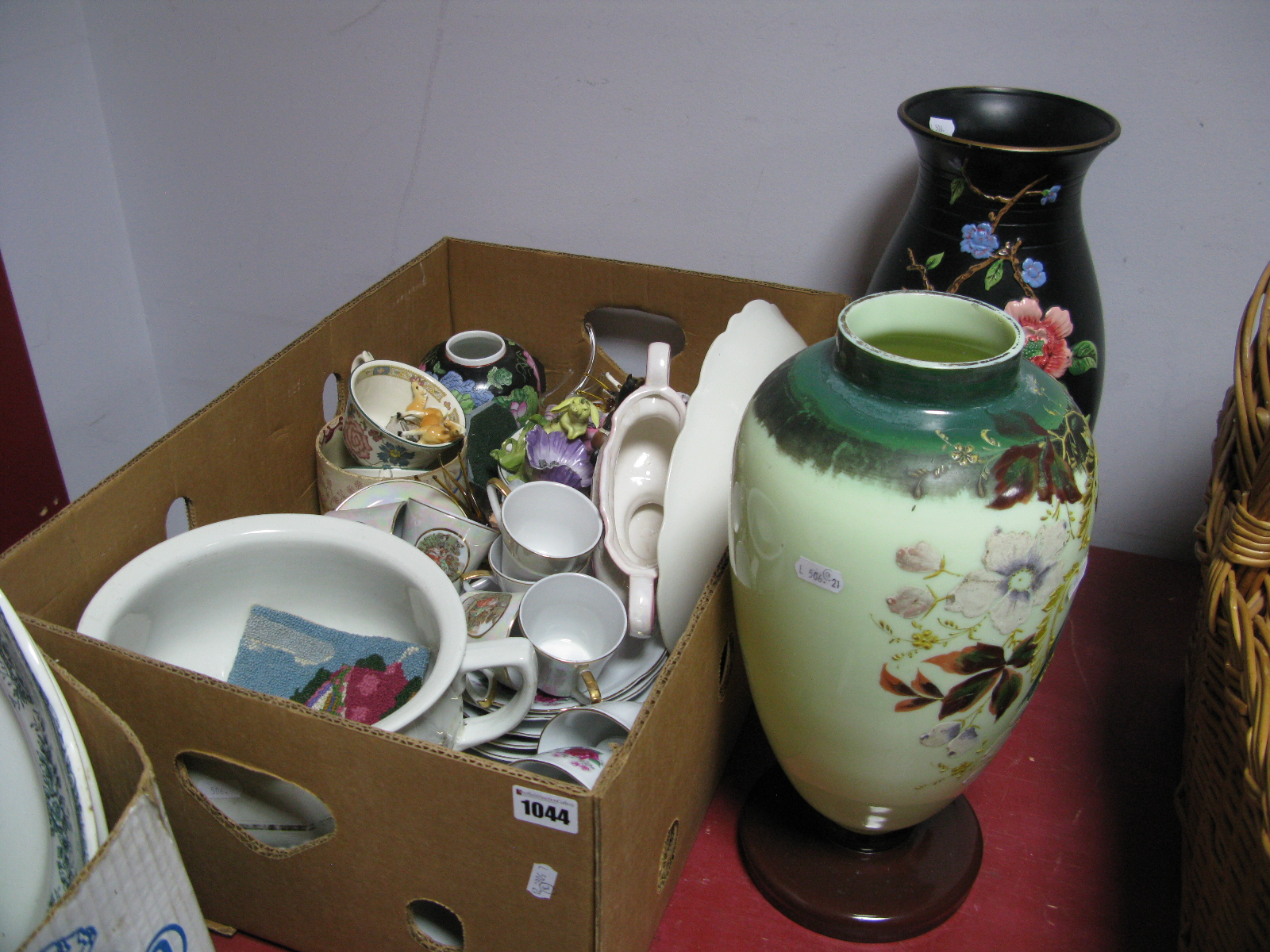 Lot 1044 - Teaware, miniatures, chamber pot, painted ovoid glass vase, Brentleigh example.