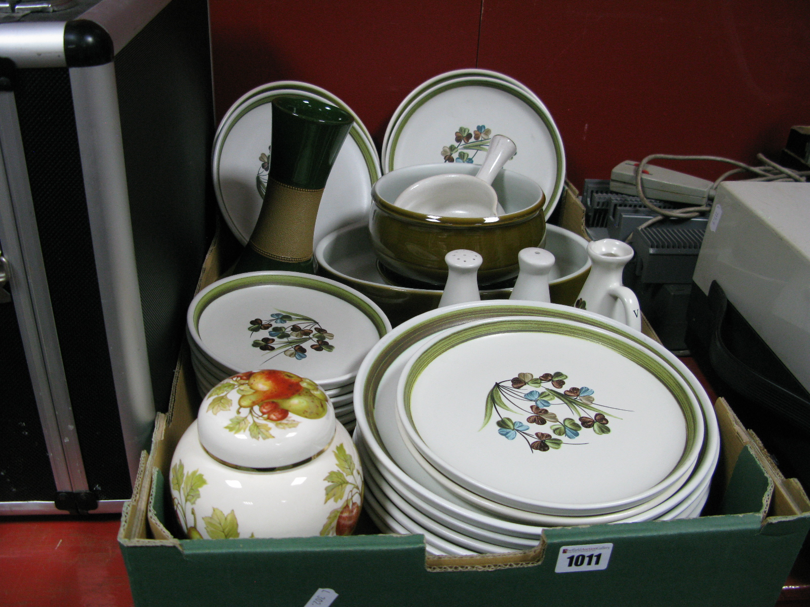 Lot 1011 - Denby Stoneware Floral Tableware of Twenty Six pieces, Masons ginger jar, etc:- One Box