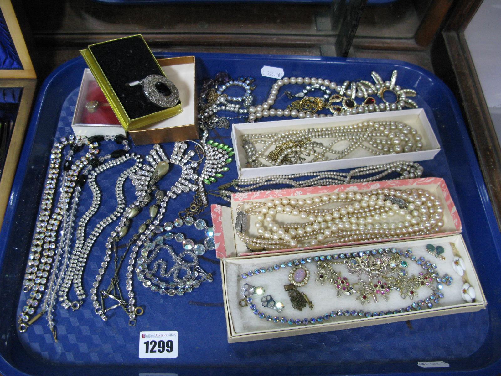 Lot 1299 - Imitation Pearls, diamanté necklaces, dress rings, etc:- One Tray