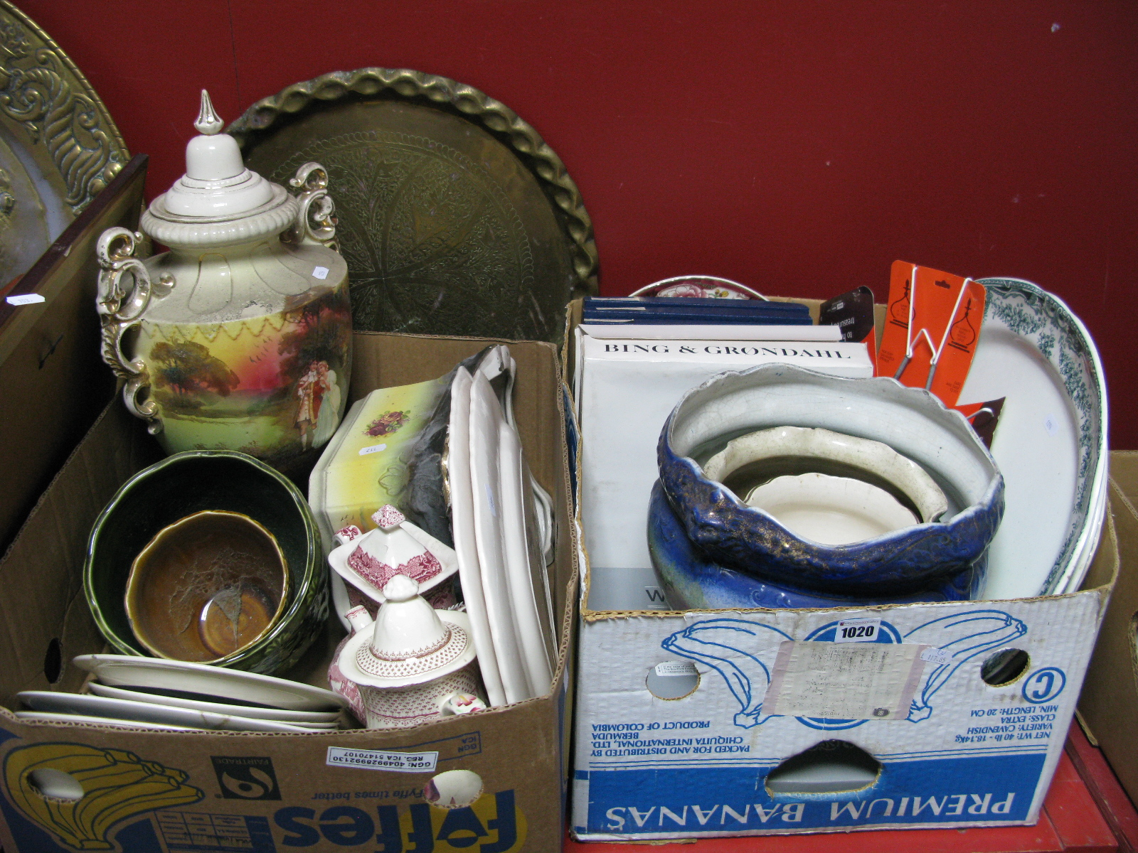 Lot 1020 - Meat Plates, jardinieres, collectors plates, Rington's Tea plates, urn on stand etc:- Two Boxes