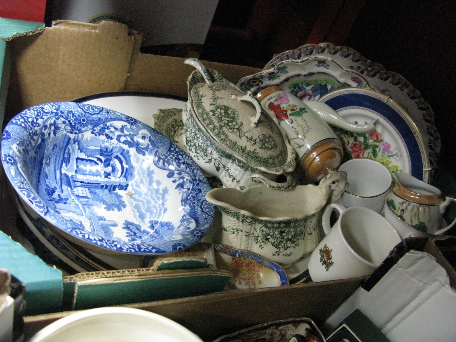 Lot 1029 - Fenton Dinner Plates, tureen, meat plates, etc:- One Box