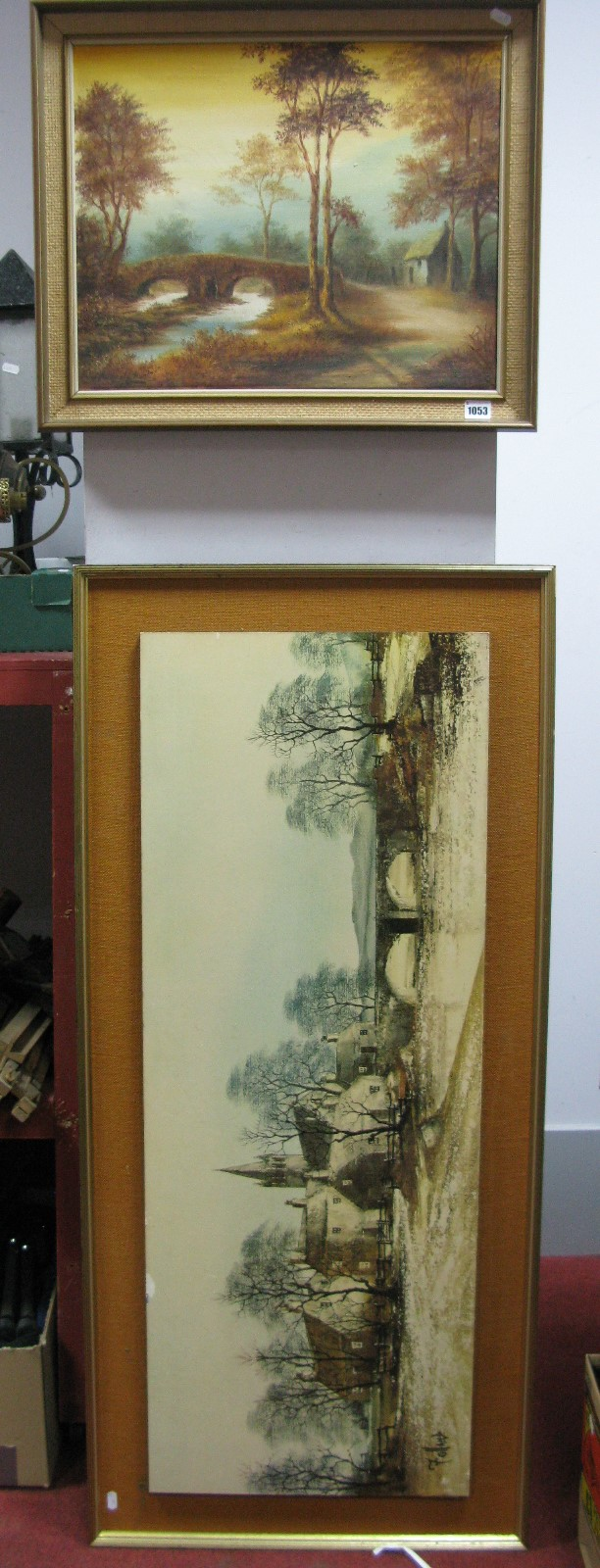 Lot 1053 - J. Heathcote Hunt Oil On Canvas, Pack Horse Bridge, Dovedale; together with a print by Follond of