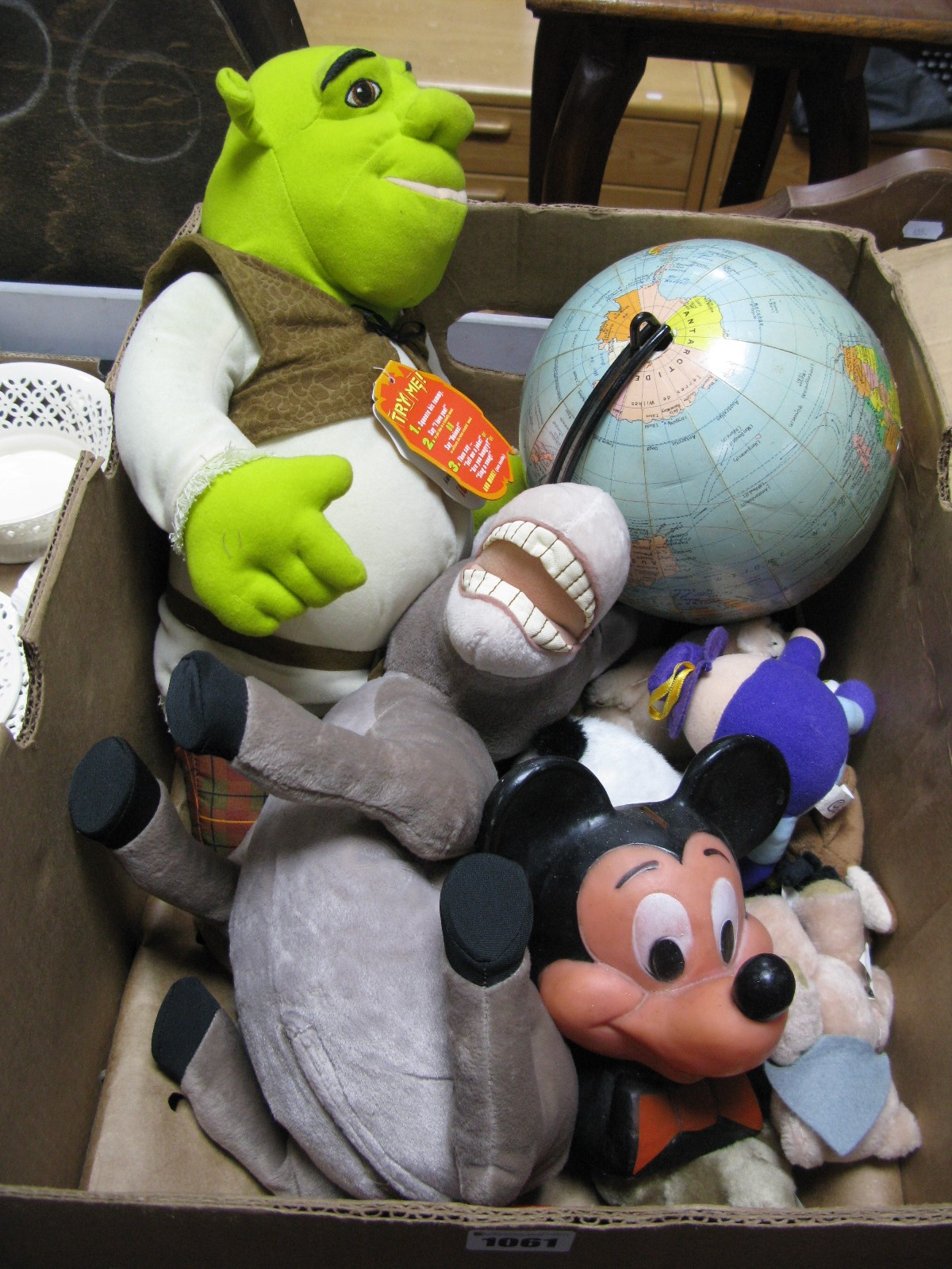Lot 1061 - Girard et Barrere, terrestrial globe Mickey Mouse money box, Shreck toy, etc.