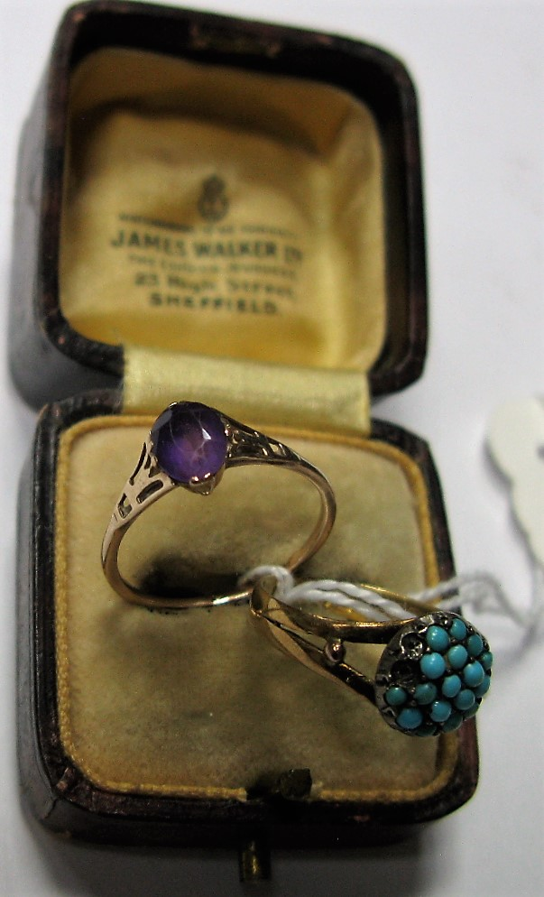 Lot 1368 - A 18ct Gold Ring, turquoise set (some missing) between bifurcated shoulders; together with a