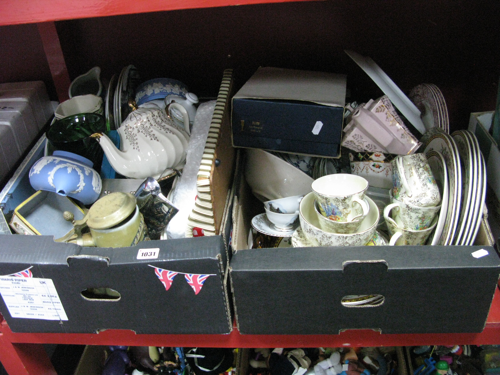 Lot 1031 - Teapots, cabinet plates, glassware, German stein, tray, etc:- Two Boxes