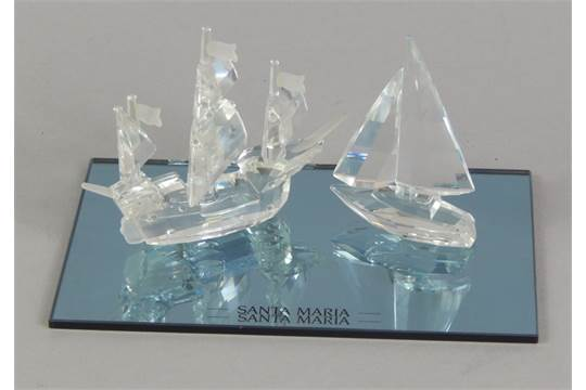 6d850ca10 A Swarovski crystal boat, the Santa Maria, on a mirrored base, 9.5cm ...