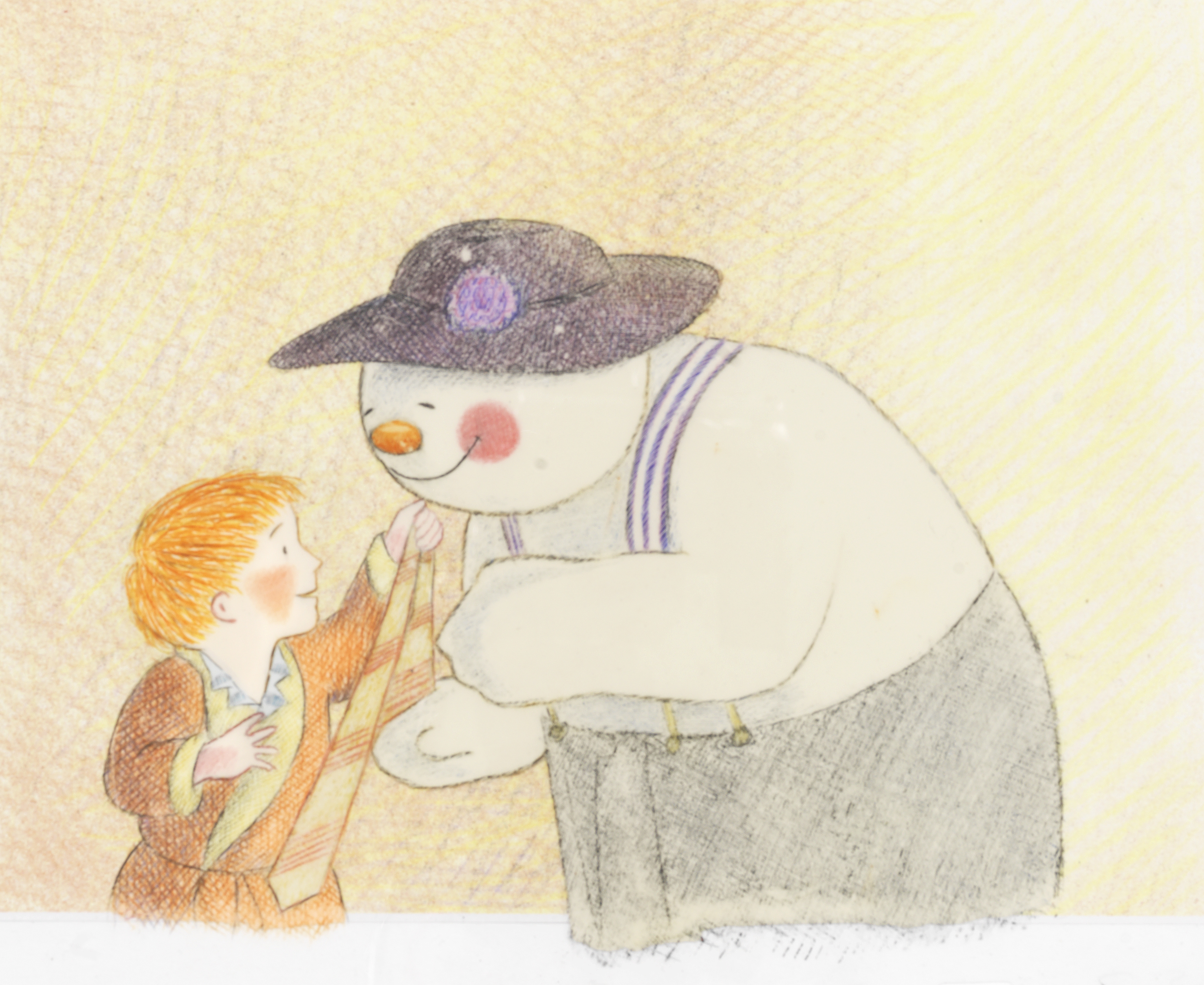 Lot 39 - The Snowman: An original animation cel of The Snowman and James playing dress-up, 1982,