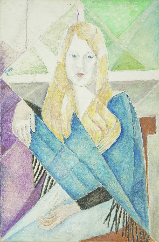 Marie Vorobieff Marevna, Russian, 1892-1984- Blonde lady in blue wrap, c.1960; oil and graphite on