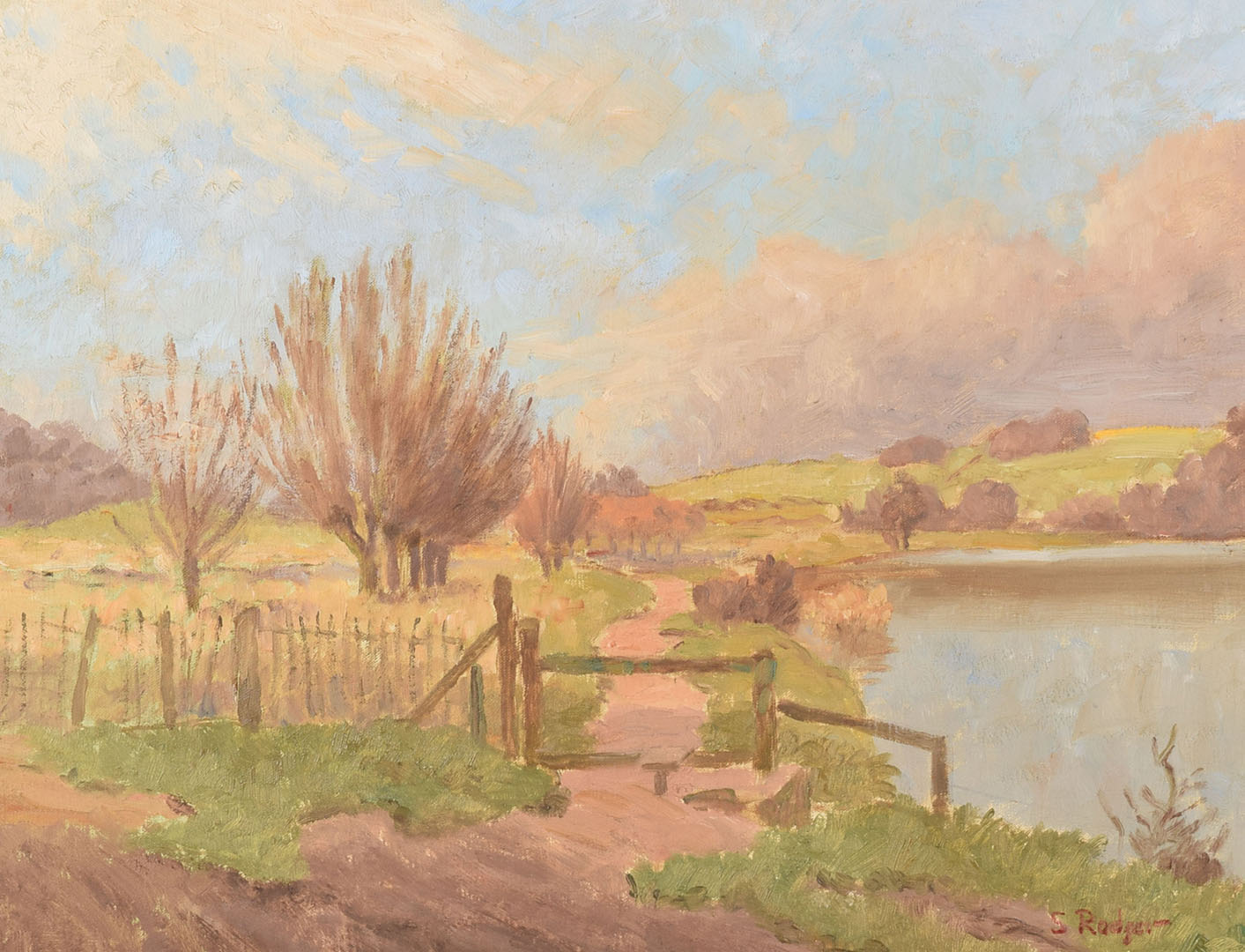Lot 485 - Attributed to Sidney Bertram Robertson Rodger (b.1916), a 1970s river scene oil on canvas,