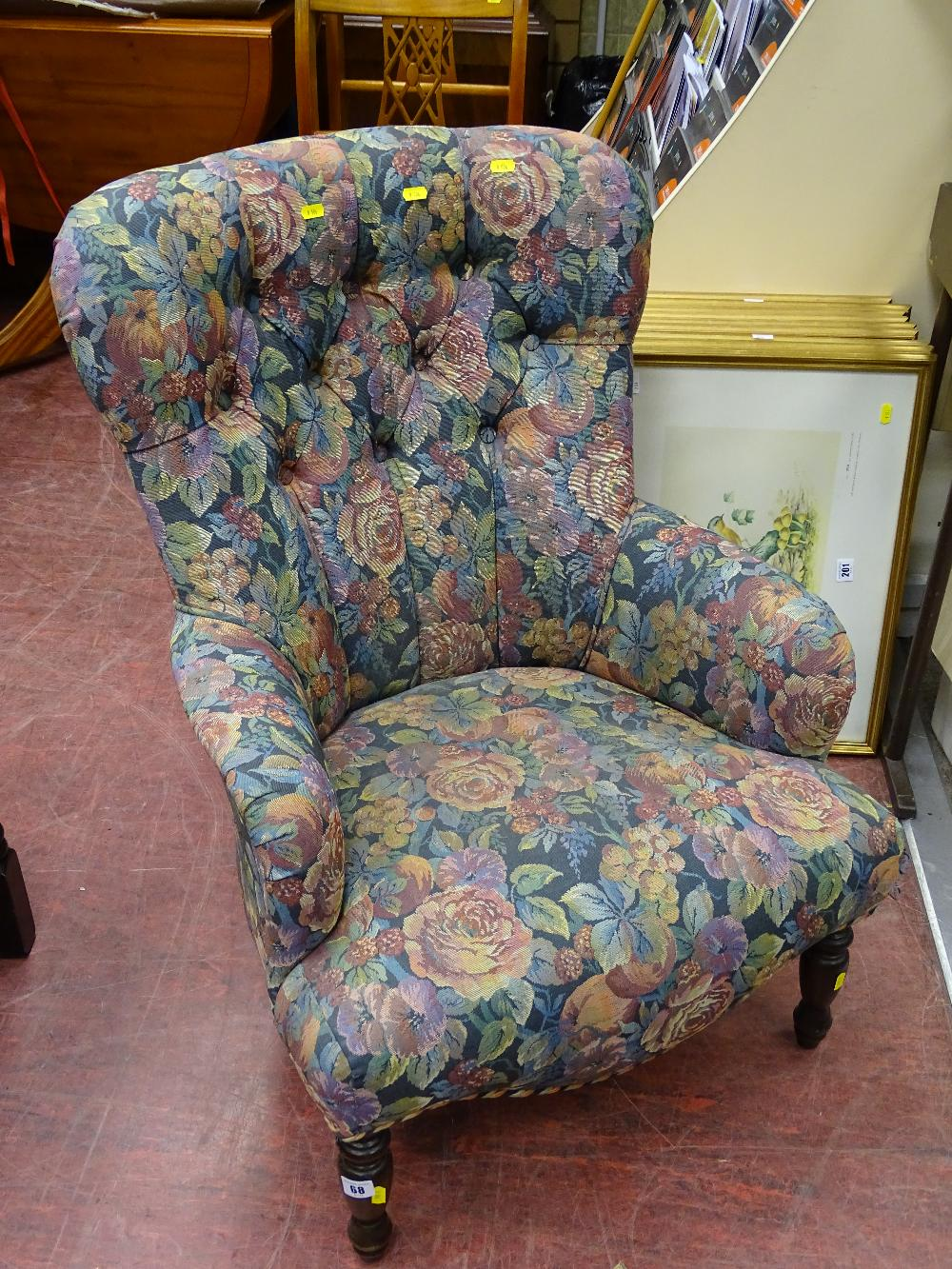 Lot 68 - Modern antique style button back upholstered salon armchair