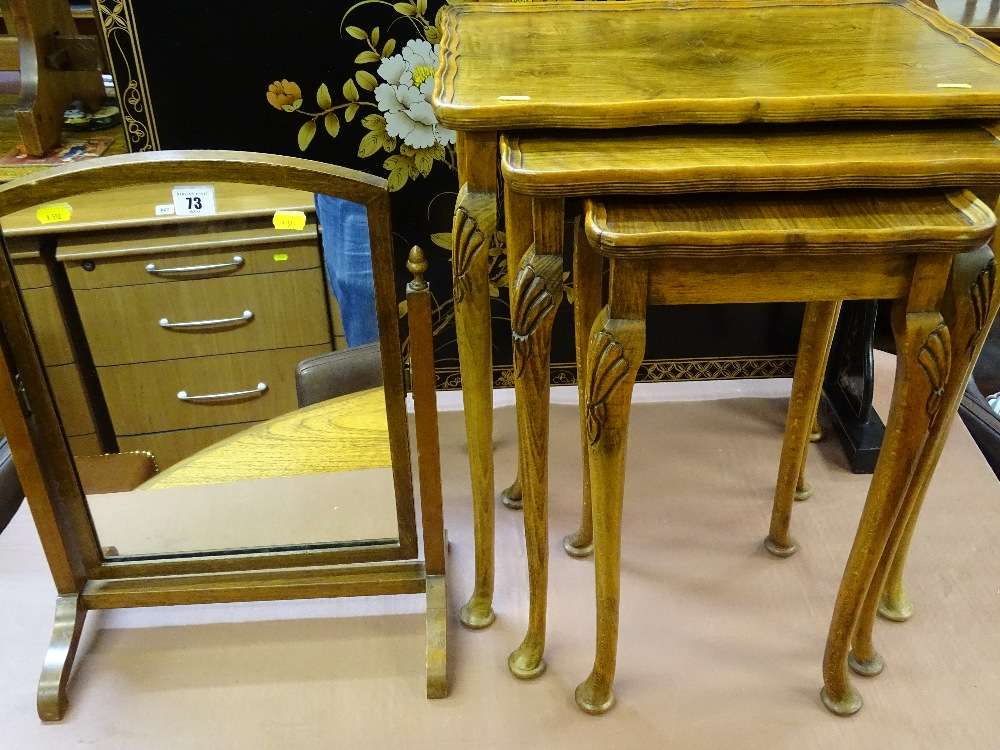 Lot 73 - Swing dressing mirror and a set of three walnut occasional tables