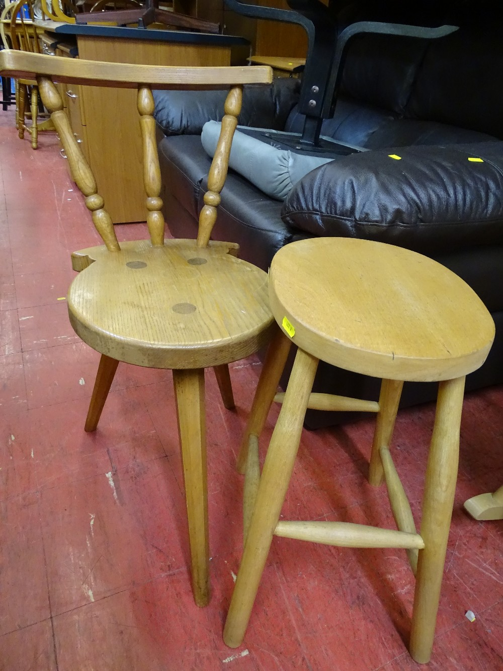 Lot 111 - Stickback bar type stool and one other