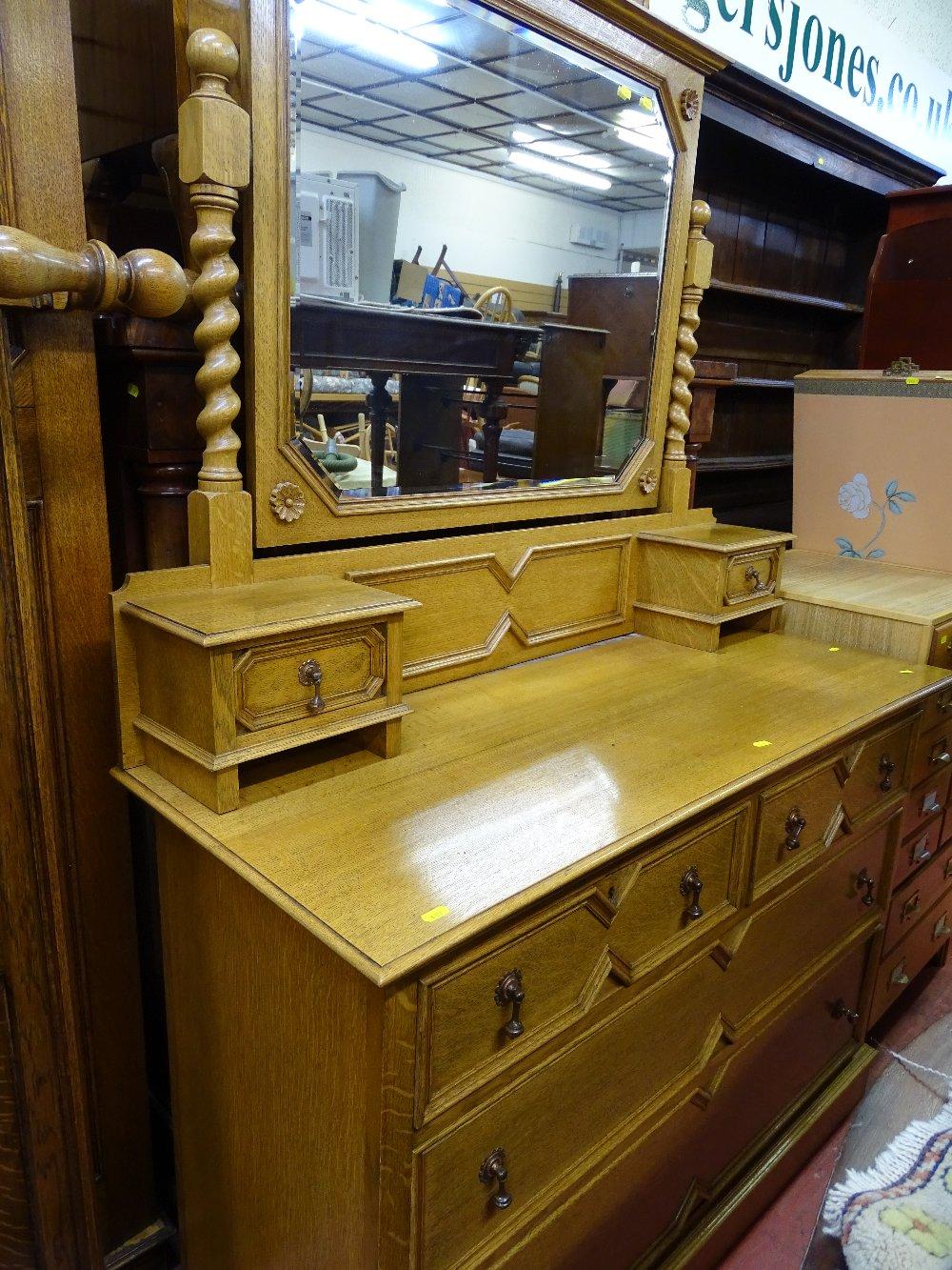 Lot 13 - Good quality light oak mirrored dressing chest