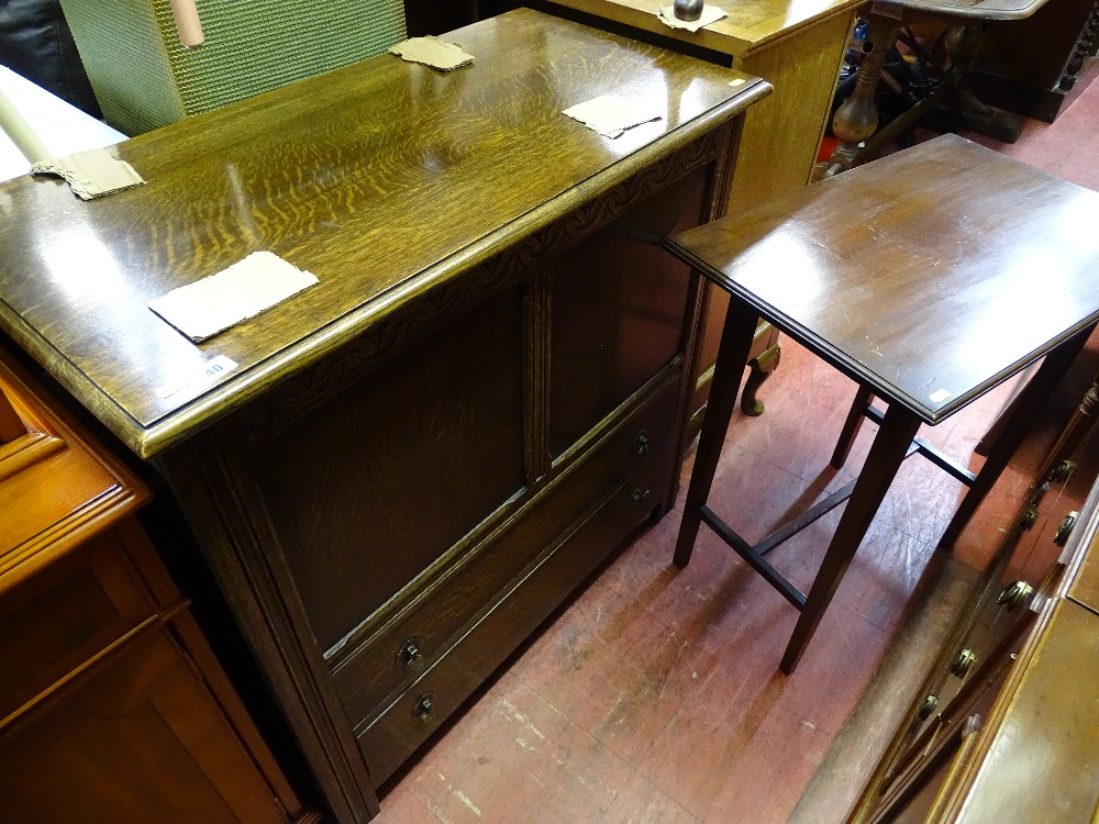 Lot 40 - Mid Century oak mule chest and a rectangular top occasional table