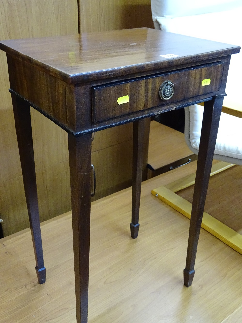 Lot 115 - Early 20th Century mahogany single drawer side table on tapering supports and spade feet