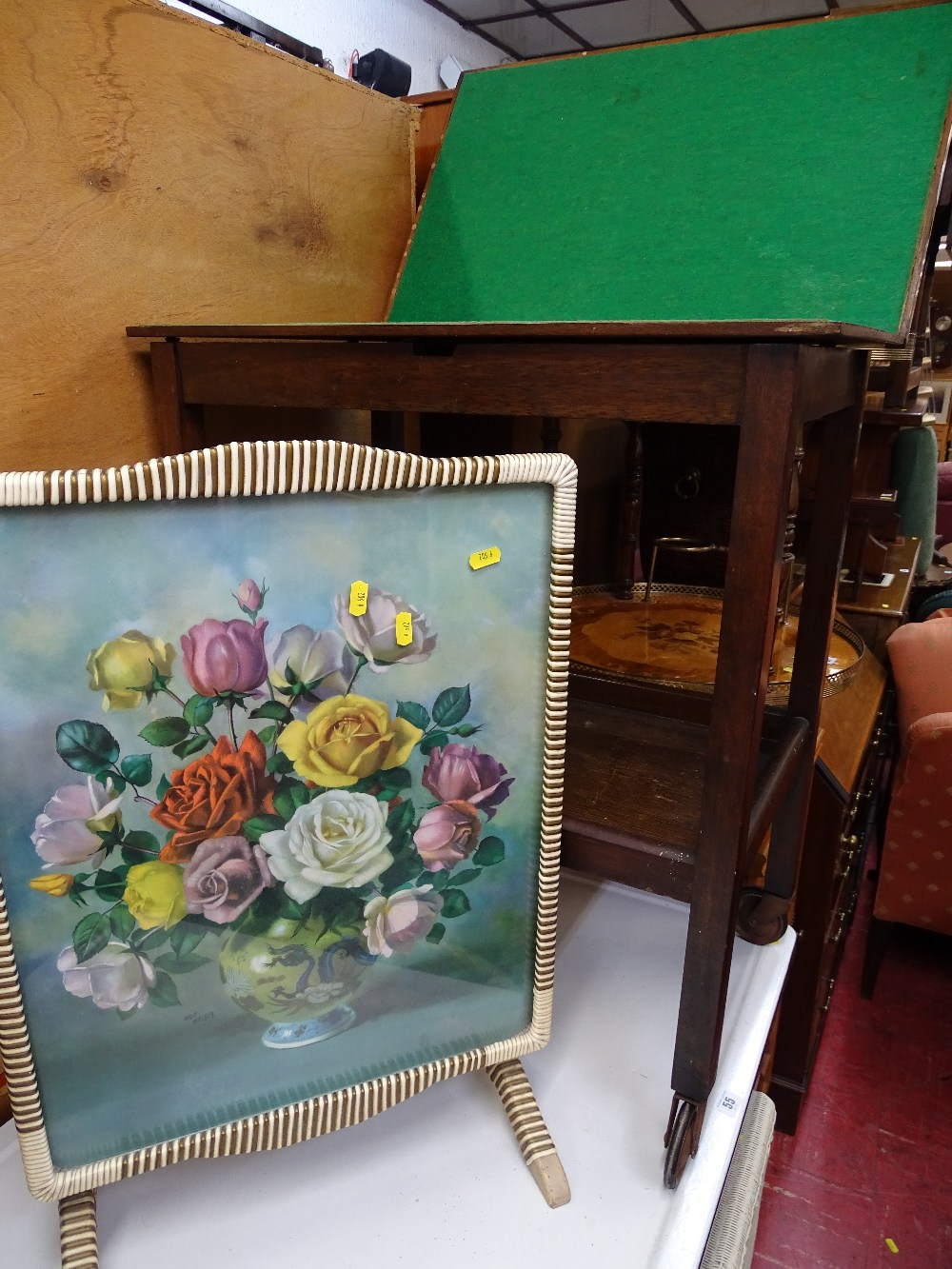 Lot 56 - Vintage foldover baize top two tier trolley and a mid Century folding table/screen