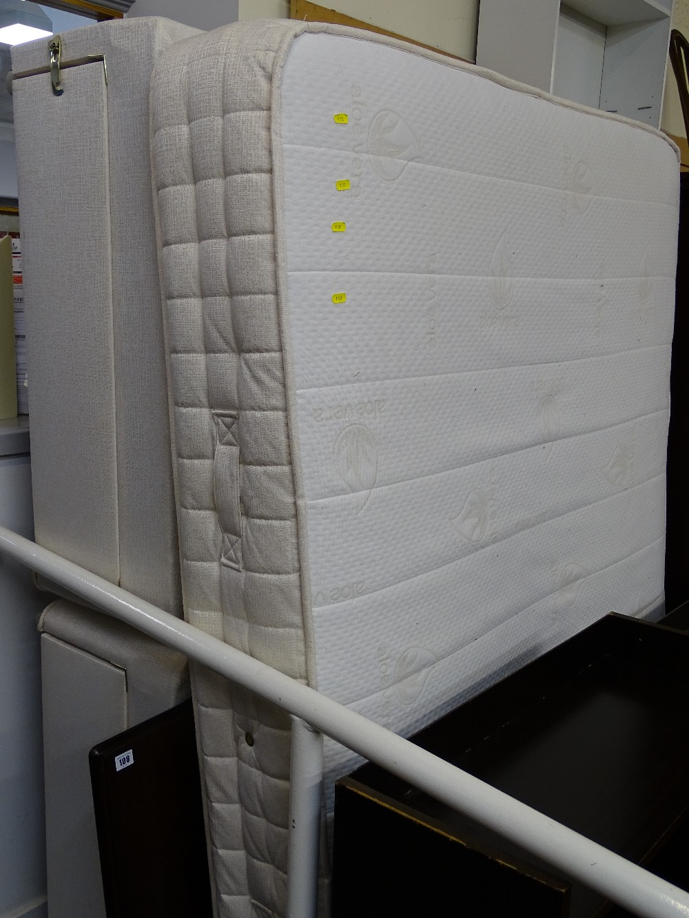 Lot 108 - Modern Sweet Dreams 4ft 6ins double drawer divan bed base and Aloe Vera mattress with a Stag