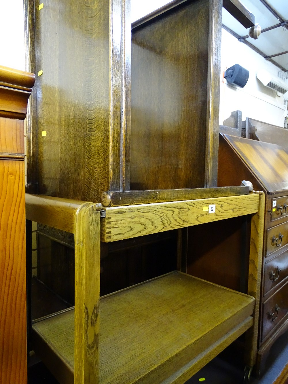 Lot 23 - Vintage oak snap-top two tier trolley and one other