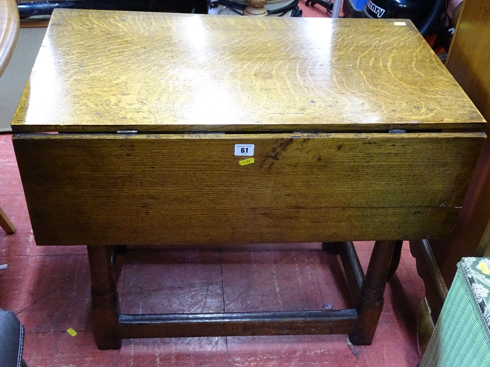 Lot 61 - Antique oak style single flap side table