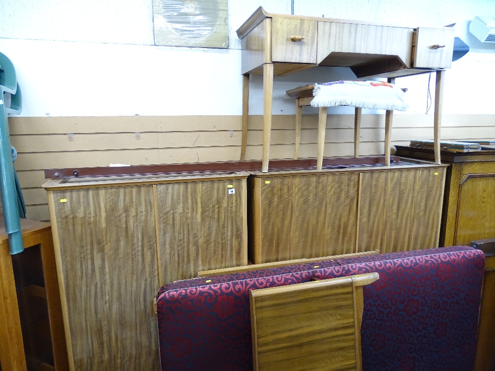 Lot 10 - Five piece mid Century bedroom suite by Vesper Furniture Ltd of lady's and gent's wardrobes, stylish