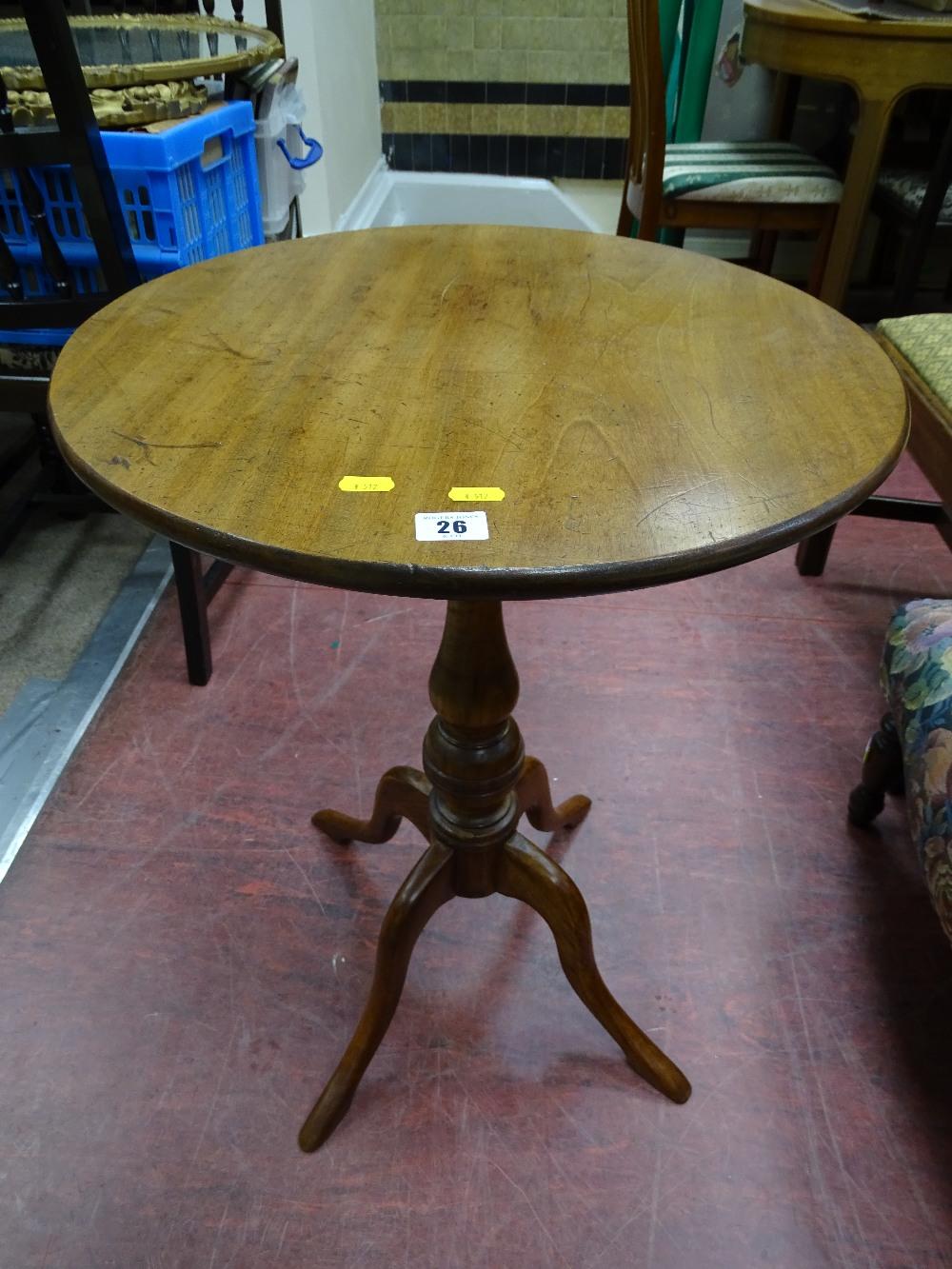 Lot 26 - Vintage circular topped mahogany tripod table