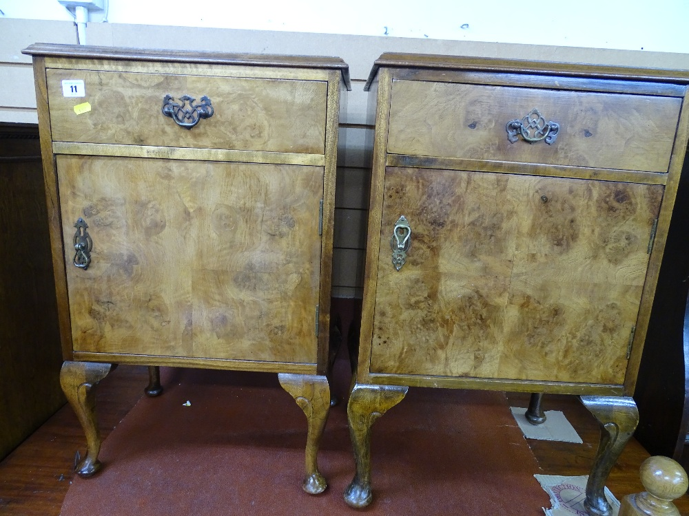 Lot 11 - Pair of burr walnut bedside cabinets