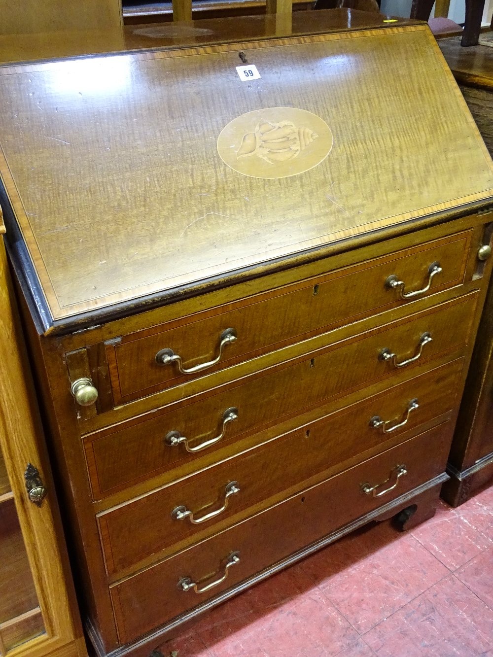 Lot 59 - Edwardian inlaid mahogany fall front bureau with Sheraton shell inlay