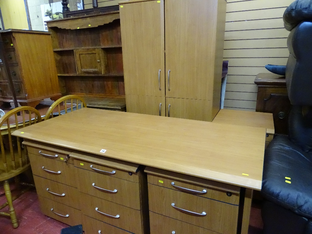 Lot 114 - Excellent light wood suite of office furniture to include desk, four sets of drawers and two door