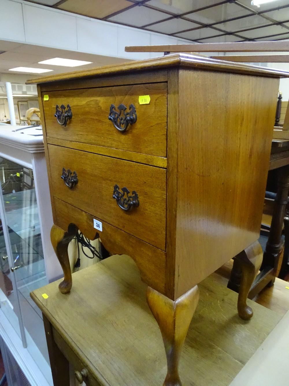 Lot 34 - Antique style oak two drawer side chest