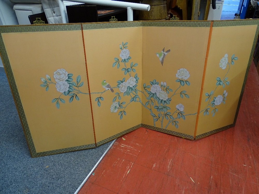 Lot 17 - Four fold Oriental hanging painted screen