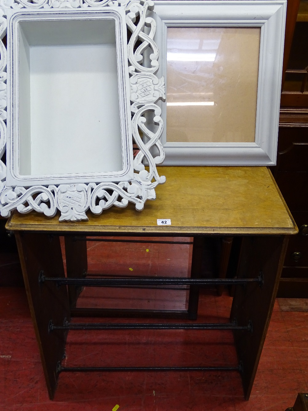 Lot 42 - Vintage shoe rack, fancy framed wall display and a painted picture frame