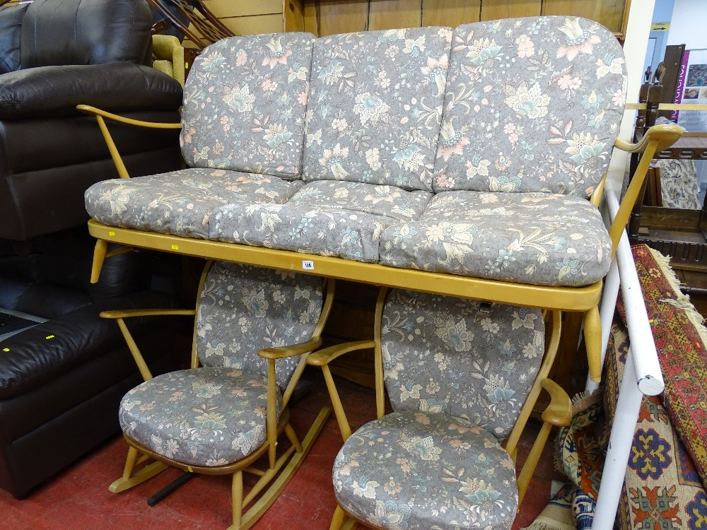 Lot 110 - Light Ercol lounge suite of three seater settee and a pair of rocking armchairs, all matching