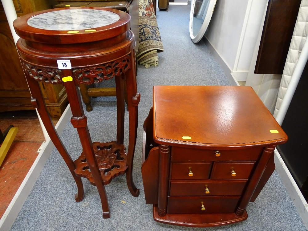 Lot 18 - Modern Oriental hardwood jardiniere stand and a mahogany effect magazine cabinet with five drawers