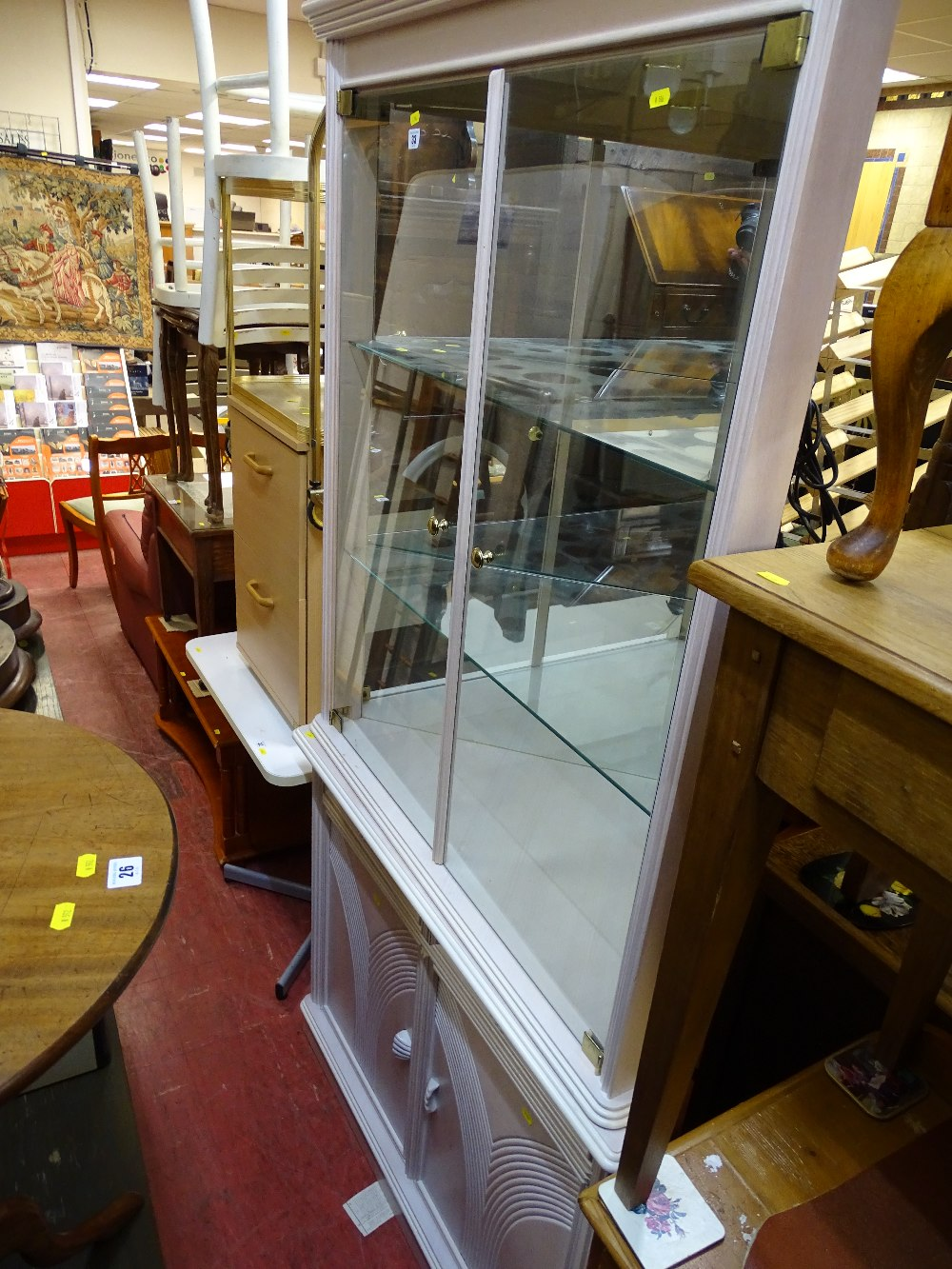 Lot 33 - Ultra modern lime washed glass topped corner display cabinet with two drawer and cupboard base